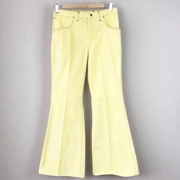unbeatable price cost charm 2019 wholesale price VTG 70s Maverick Yellow Bell Bottom Pants US Made